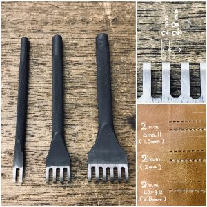 Thonging Chisel (2mm : prong width)  (Large : space between prongs) 【Specially made items】